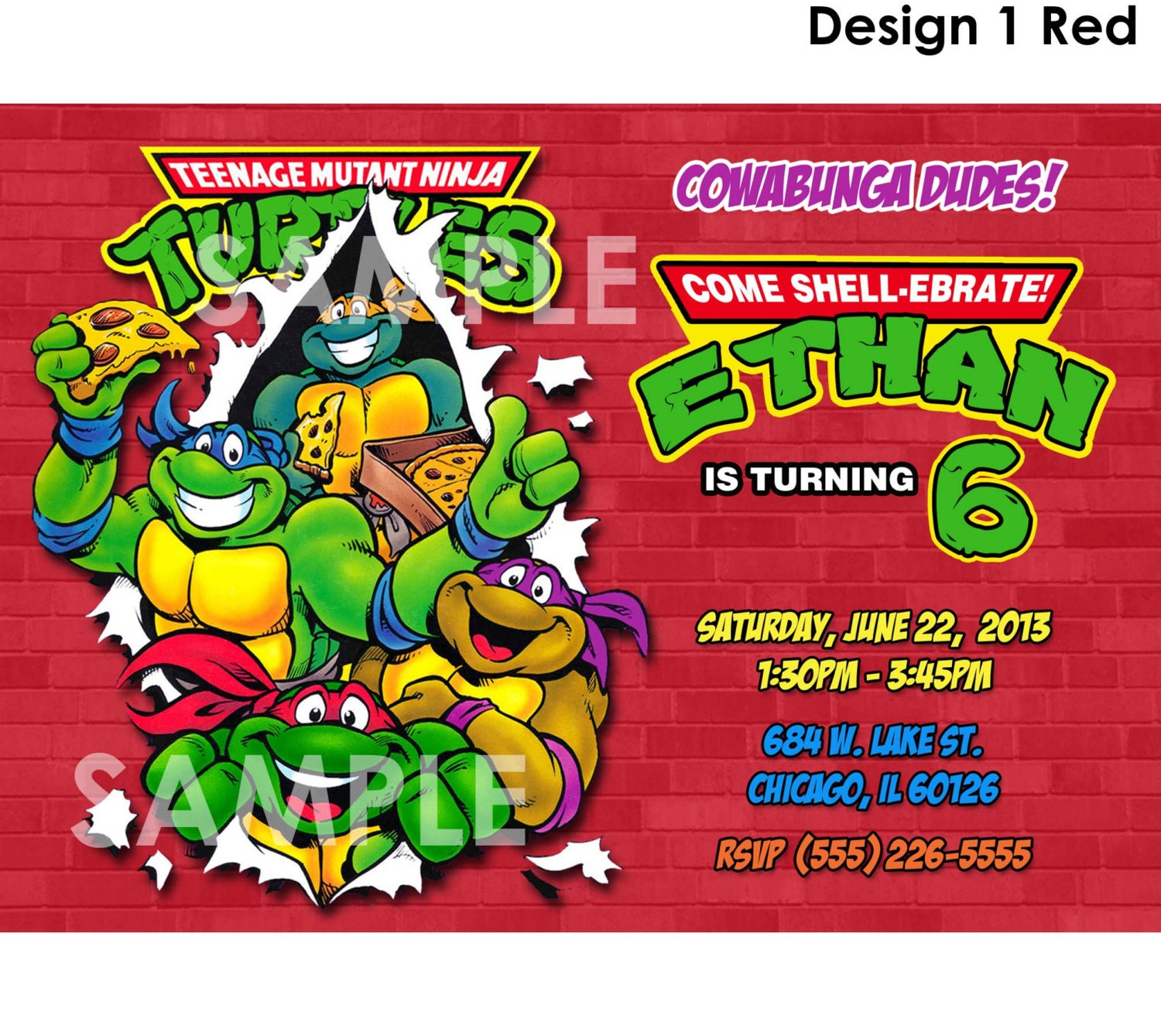 Teenage Mutant Ninja Turtles Invitation Printable TMNT
