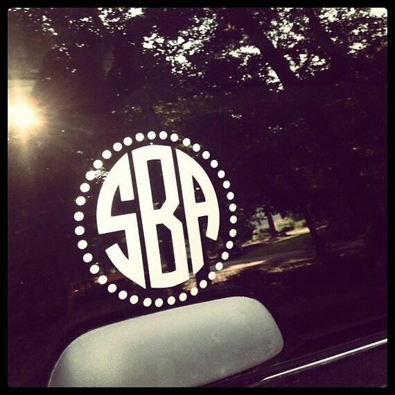 monogrammed car window decal with polka dot circle