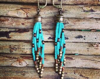 Beaded Earrings, Fringe Earrings,  Seed Bead Earrings, Turquoise Earrings, Boho Earrings, Southwestern Style