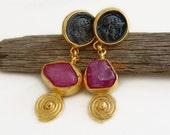 Ancient Roman Art Handmade Coin Earrings W/ Rough Uncut Ruby by Ferimer