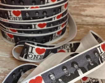 I Love One. One Direction FOE. Fold Over Elastic. Headband Supplies