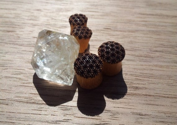 Flower of Life Laser Engraved Wood Plugs/Gauges - Sacred Geometry - Healing