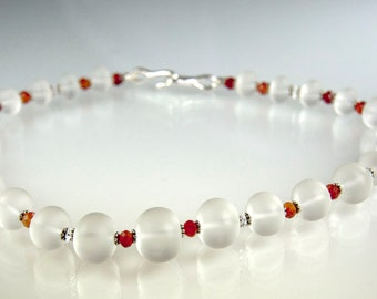 Bride of Frankenstein Necklace - Frosted crystal quartz, sterling silver and  faceted carnelian rondels.