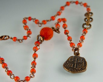 Flamenco Necklace - Vintage orange African white heart beads with a replica Spanish cob coin necklace