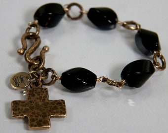 Texas Tea Bracelet - black onyx and bronze