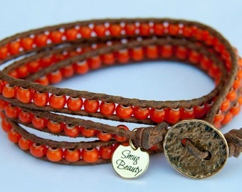Summer Sun Triple wrap Bracelet - african trade beads, leather and bronze