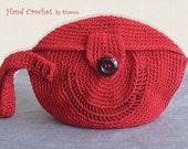 Crocheted Purse / Wrist Handle / Red / Medium Size