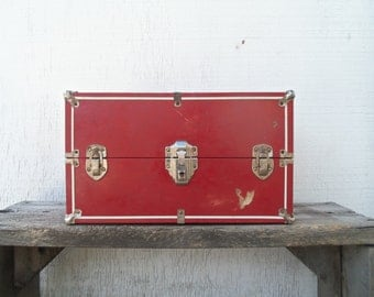 Vintage Red Metal Doll Wardrobe Trunk