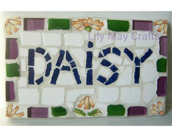 Mosaic name, word plaque sign - made to order