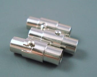 Magnetic Clasp, 3MM Latching Tube Bayonette Clasp for Leather or Cord, THREE Bayonnet Brass End Caps (3MMBMC)