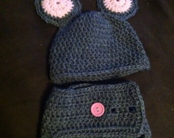 Mouse hat and diaper cover, baby shower gift, unisex set, photography prop, handcrafted