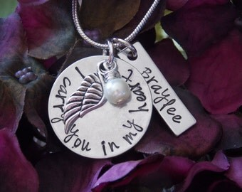 Hand Stamped Jewelry-Remembrance Jewelry-Memorial Jewelry-PAIL-Angel Wing-Child/Infant Loss Necklace-I carry you in my heart necklace