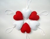 Mothers day gift, Mothers day hearts, Valentines day hearts,  Red and white  felt hearts , Valentine's Day Decor,  Puffy hearts