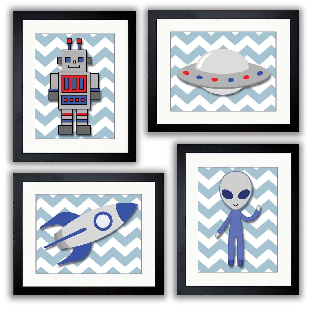 Blue Space Art Child Art Prints Alien Spaceship Rocket and Robot Boy Kids Room Wall Art Decor Boys A