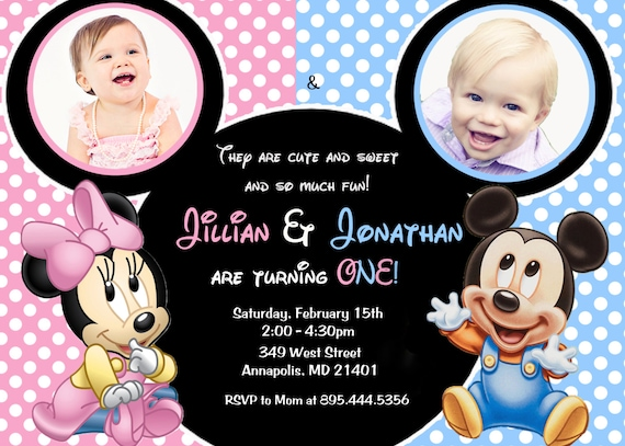 Minnie Mouse Mickey Mouse Baby One Twins First Birthday Party