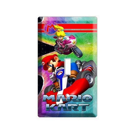 super mario kart racing princess and peach single light switch. Black Bedroom Furniture Sets. Home Design Ideas