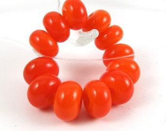 Orange - Set of 12 Handmade Spacer Beads