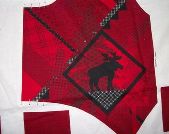 Moose Design vest fabric, red, 2 available