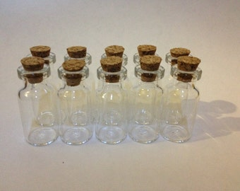 10 Small Clear Glass Bottle Vial with Cork For Charm Pendant - 16x35mm , 2ml