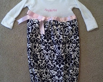 Onesie Layette Gown .. Emroidered Name Included