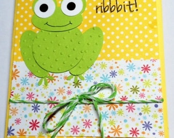 Home Made Birthday Card with Adorable  Punch Art Frog