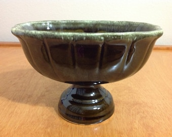 Vintage Green Vase or Planter on Pedestal from Hull