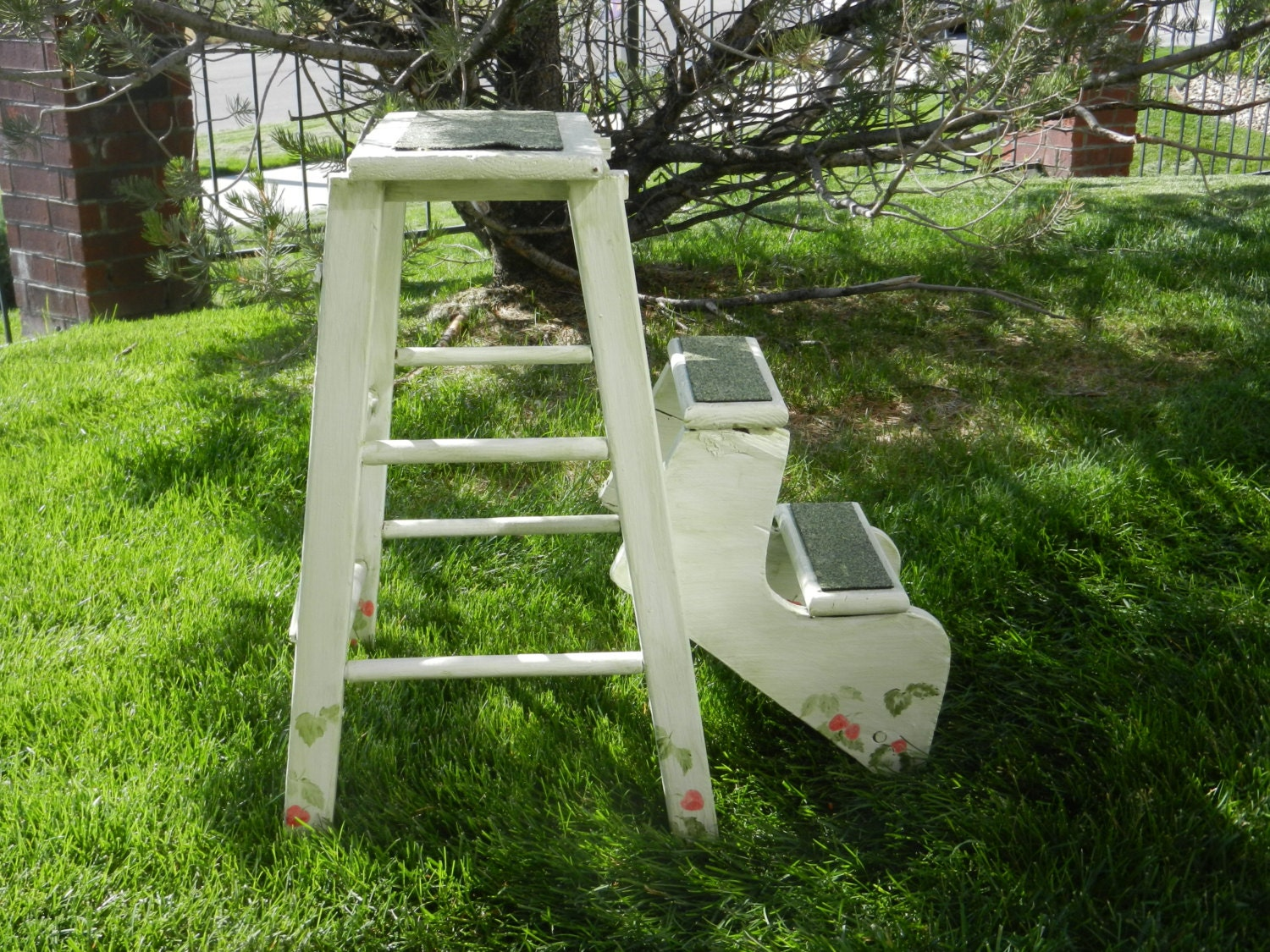 Vintage wood step ladder foot stool plant stand with two - Ladder plant stand plans ...