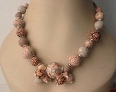 Handmade by me Salmon colors, greys, cream assorted beads of polymer clay necklace set
