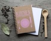 "4x6"" PINK Recipe book, spiral notebook, kitchen book recipe organizer, kraft paper notebook, pocket notebook blank book, accessories favor"