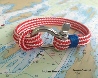Sailwinds Nautical Rope Bracelet - Red Windjammer Bracelet for Sailors, Surfers, Kayakers and Other Ocean Sports & Beach Enthusiasts