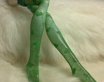 Dolls stockings for Monster high doll    Green heart  MH102