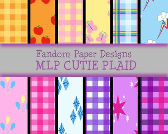 My Little Pony Cutie Marks and Plaid - Digital Scrapbook Paper - Twelve Sheets