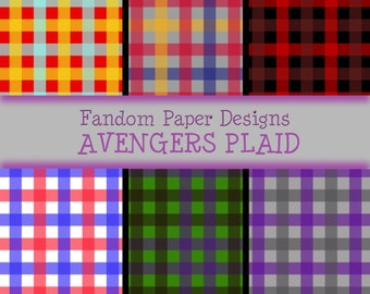 Avengers Plaid - Digital Scrapbook Paper - Six Sheets