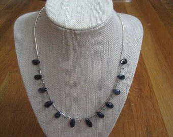 Iolite and Aquamarine Teardrop Necklace