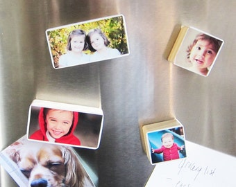 Set of 12, Personalized Photo Magnets in Pine Wood of your baby, family great gift for grandparents, Christmas