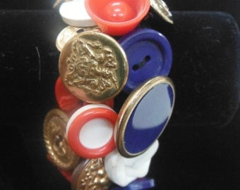 Vintage Button Bracelet, Red, White & Blue, 1960's