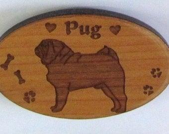 Original Design Pug Wood Magnet