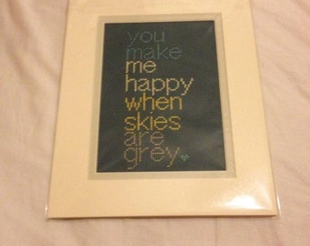 Cross Stitch Pattern - Lyrics - You are my sunshine - You make me happy when skies are grey PDF