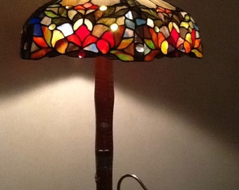 One of a Kind Bassoon Lamp with Beautiful Stain Glass Shade