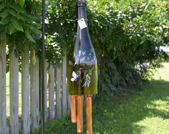 Recycled Wine Bottle Wind Chime - Wisteria and Butterflies