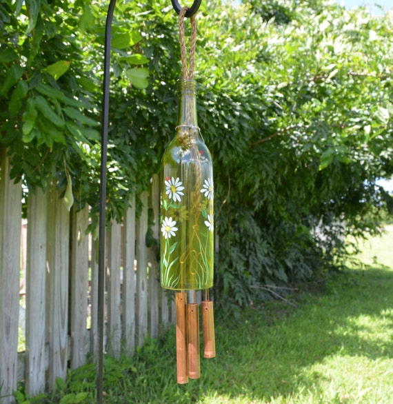 Recycled wine bottle wind chime yellow glass by for Glass bottle wind chimes