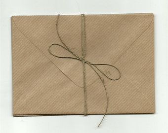 10 ECO  Kraft Brown Ribbed Envelopes / envelopes C6  for cards and invitations / Craft wedding invitations