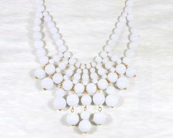 Olivia Necklace - Hot Popular / White Beadwork bubble necklace, bib statement necklace, bridal bridesmaid party necklace