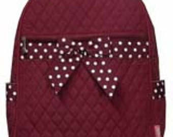 Machine embroidered Quilted Back-pack.  Personalized to your needs.  Aggie Maroon.  Includes FREE Personal Embroidery