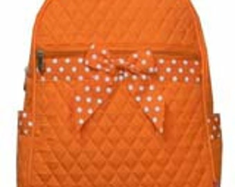 Machine embroidered Quilted Back-pack.  Personalized to your needs.  Texas Longhorn Orange.