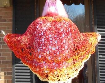 Fiery Starvation Games handmade crochet cape looks like it is on fire!