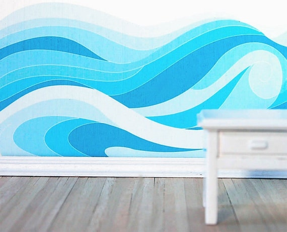 Items Similar To Ocean Waves Traceable Wall Mural Pattern
