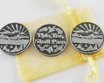 Set of 3 This Too Shall Pass Pocket Tokens with Organza Bag