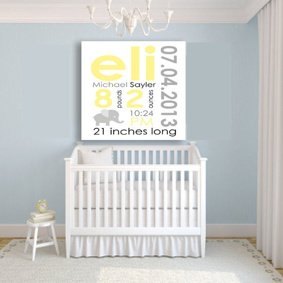 Baby Information Art Canvas Custom Canvas baby birth
