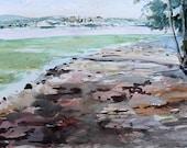 Newburgh off Dennings Point orginal watercolor painting 9 x 6
